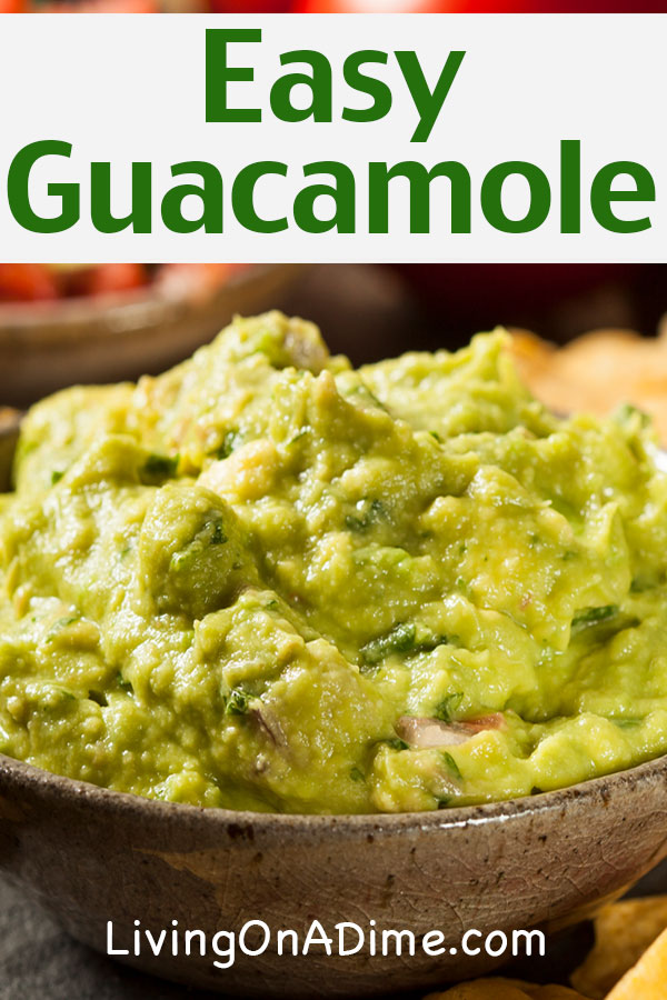 This easy guacamole recipe is super tasty and you can make it for a fraction of the cost of buying at a restaurant or pre-made at the store! If you find avocados on sale, you can easily make a bunch ahead of time and freeze in freezer bags the amount you would be likely to use at dinner. Homemade guacamole is a wonderful addition to any Mexican styled food or you can eat it with tortilla chips as a tasty snack.