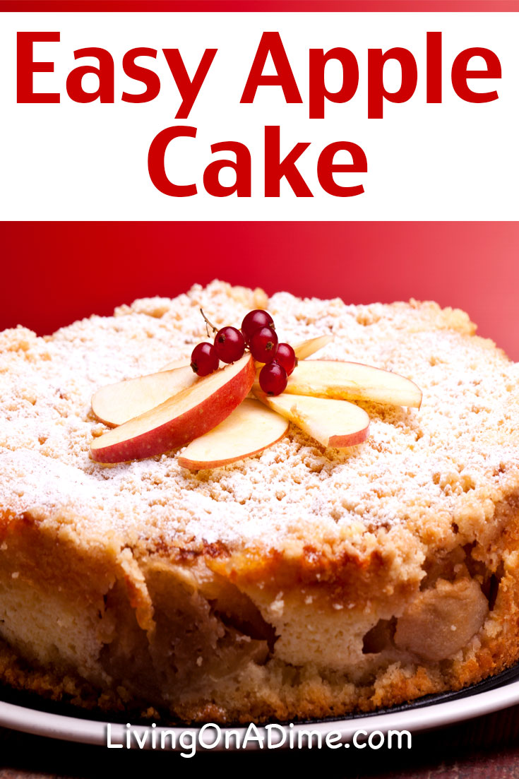 This easy apple cake recipe makes a great snack cake that reminds you of grandma's house! It is similar to a coffee cake, with a yummy apple flavor and makes a good cake for fall! It's a great way to use extra fresh apples. Try it to bring some warm fuzzy feelings to your family.