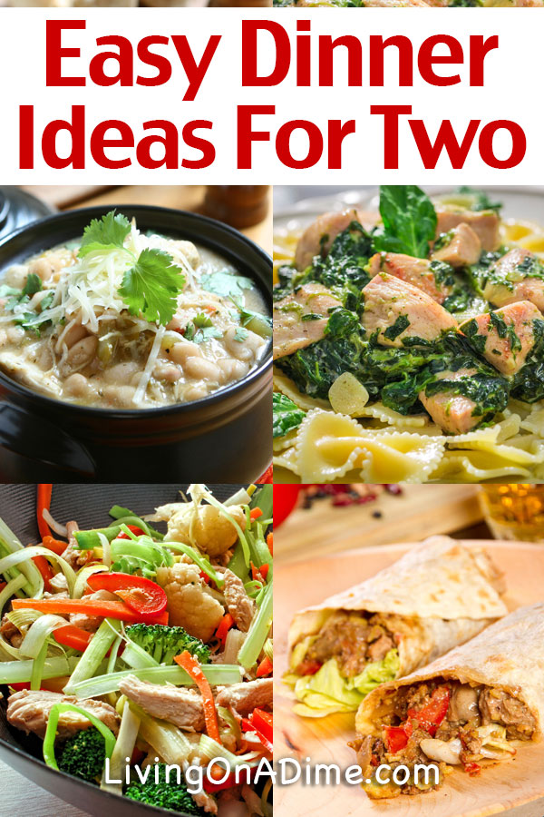 Here are some easy dinner ideas for two people including easy dinner recipes and an adaptable meal plan. These dinner ideas cost just $20 for two people for a week of tasty meals.
