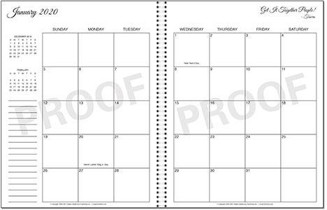 Living On A Dime To Grow Rich - Tawra's Get It Together Planner 2 Page Monthly Calendar