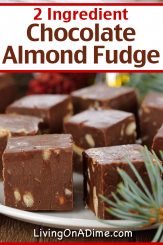 This 2 ingredient chocolate almond fudge recipe super delicious! How can you go wrong with decadent fudge with the delicious taste of dreamy dark chocolate and salted almond butter! Bring this Christmas Candy to a family get-together or holiday party and they will think you worked all day perfecting it! Find this and lots more easy Christmas candy recipes with 3 ingredients or less here!