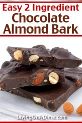 This 2 ingredient chocolate almond bark recipe makes a rich and delicious classic almond bark treat! I prefer making it with dark chocolate and salted almonds! Yum! Find this and lots more easy Christmas candy recipes with 2 ingredients here!