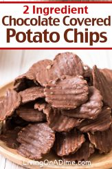 What's better than potato chips or chocolate? Potato chips and chocolate together!! This 2 ingredient chocolate covered potato chips recipe makes a salty sweet crunchy Christmas candy treat perfect for the holidays! Find this and lots more easy Christmas candy recipes with 2 ingredients here!