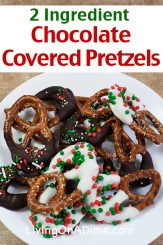 This 2 ingredient chocolate covered pretzels recipe is a super easy salty-sweet Christmas candy recipe with a nice texture and the potential for lots of variety! Start with the basic 2 ingredient recipe and then, if you like, add your choice of sprinkles, ground nuts or ground coconut! Find this and lots more easy 2 ingredient Christmas candy recipes here!