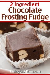 This 2 ingredient frosting fudge recipe makes a smooth, creamy chocolate fudge you're sure to love! Find this and lots more easy Christmas candy recipes with 3 ingredients or less here!