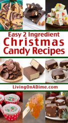 Try these 22 easy 2 ingredient Christmas candy recipes that make it easy for you to make rich and tasty Christmas candies with just a few minutes preparation! Why buy expensive store bought specialty Christmas candies when you can make these quick and easy Christmas candy recipes at home? Everyone raves about how wonderful they taste and these candies are perfect for parties and family get-togethers!