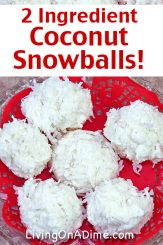 These 2 ingredient coconut snowballs are a variation on the coconut haystacks that use white chocolate. Form them into snowball shapes to bring a distinctly winter theme to any Christmas party or get-together! Find this and lots more easy Christmas candy recipes with 2 ingredients here!