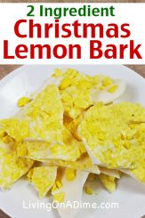 This easy lemon bark recipe makes another Christmas candy recipe that is super tasty and easy to make, with just 2 ingredients! The crunchy texture and tangy flavor of the lemon drops combined with the smooth and creamy almond bark make a wonderful combination of tastes and textures you're sure to love! Find this and lots more easy Christmas candy recipes with 2 ingredients here!