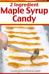 This easy 2 ingredient maple syrup candy recipe makes an old fashioned maple flavored semi-hard candy that is often made at fairs and festivals with fresh snow! If you live in a cool climate, it is a classic winter activity you can do with your family in the backyard! Find this and lots more easy Christmas candy recipes with 2 ingredients here! Sea salt