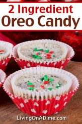 This easy 2 ingredient Oreo candy recipe makes a tasty Christmas candy that tastes just like classic cookies and cream! The crunchy texture of the Oreo bits combined with the smooth and creamy almond bark make a wonderful combination of tastes and textures you're sure to love!