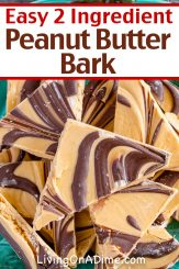 Bark candies are a nice addition to any holiday party. This 2 ingredient peanut butter bark recipe is perfect for the chocolate and peanut butter lovers in your family and the artistic peanut butter swirl makes it a visually appealing addition to any candy tray! Find this and lots more easy Christmas candy recipes with 2 ingredients here!