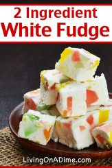 This 2 ingredient white fudge recipe is perfect if you prefer smooth, creamy white chocolate over regular chocolate! For a little more adventure, try throwing in some colorful gumdrops, almonds, walnuts or coconut! Find this and lots more easy 2 ingredient Christmas candy recipes here!