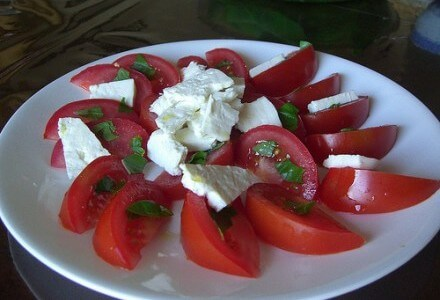 marinated tomatoes and cheese