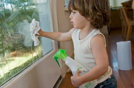 kids cleaning window