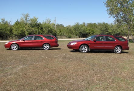 two ford taurus wagons our old car and new car