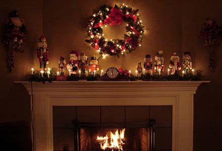 Christmas At Grandma's - Fireplace with Wreath