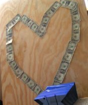 money heart dollar bills