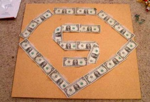 superman symbol dollar bills