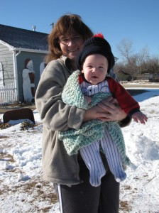 Mom and Jack in the snow