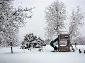 winter wonderland - snow covered playground