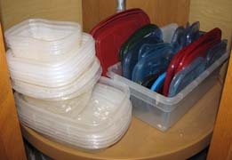 Storing plastic containers and lids