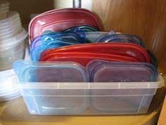 storing lids for plastic containers