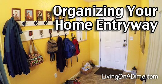 Organizing Your Home - My New Coat Rack And Entryway - Living on a Dime