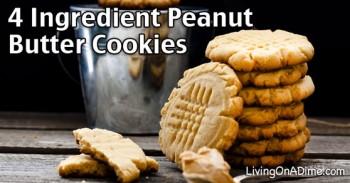 Easy 4 Ingredient Peanut Butter Cookies Recipe