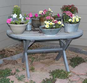 reusing old table in the garden