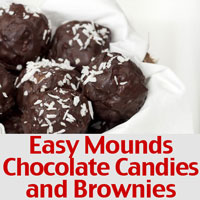 Easy Mounds Chocolate Candies and Brownies Recipe