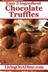 This easy chocolate truffles recipe is super delicious and has a wonderful soft chocolate texture. The basic chocolate truffles are rolled in cocoa powder or nuts, but you can make many tasty variations, including coconut, colored sprinkles, powdered sugar and more! Find this and lots more easy Christmas candy recipes with 3 ingredients or less here!