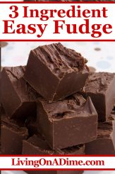 This 3 ingredient fudge recipe is one of our favorite Christmas candy recipes! Who knew rich, creamy chocolate fudge could be so dreamy! Bring this Christmas Candy to a family get-together or holiday party and they will think you worked all day perfecting it! Find this and lots more easy Christmas candy recipes with 3 ingredients or less here!