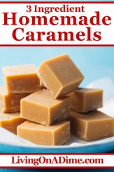 This homemade caramel candy recipe makes decadent chewy homemade caramels, perfect as-is but also tasty dipped in chocolate! It's a great Christmas candy recipe for the caramel lover in your family. Find this and lots more easy Christmas candy recipes with 3 ingredients or less here!
