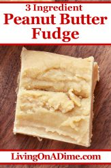 This 3 ingredient peanut butter fudge recipe makes a smooth and creamy peanut butter fudge that is oh, so delicious! This recipe is one of our readers' favorite Christmas candy recipes! Find this and lots more easy Christmas candy recipes with 3 ingredients or less here!