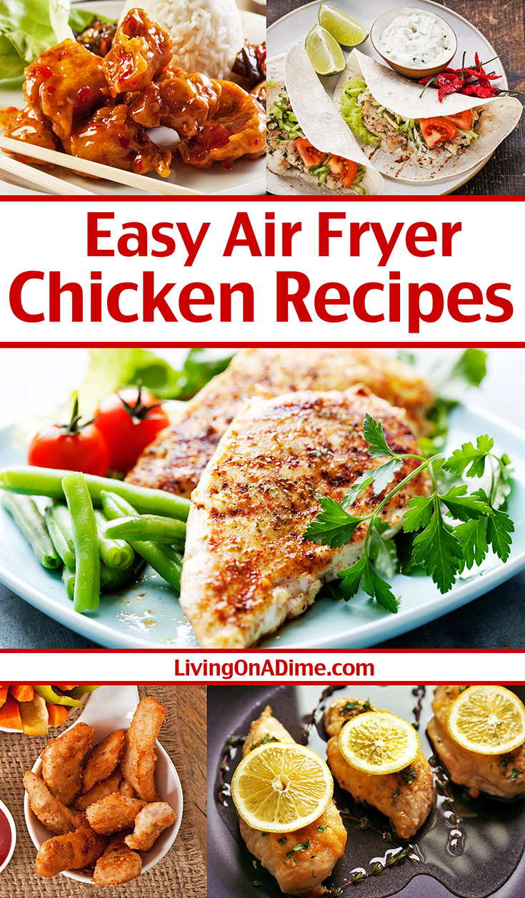Here are 5 air fryer chicken breast recipes sure to please your family! They are healthy, versatile and easy to make with just a few minutes prep time! What I really love about these air fryer recipes is how juicy the chicken turns out! If you like the taste of juicy chicken, but without frying it in oil, you'll love these tasty air fryer chicken recipes!