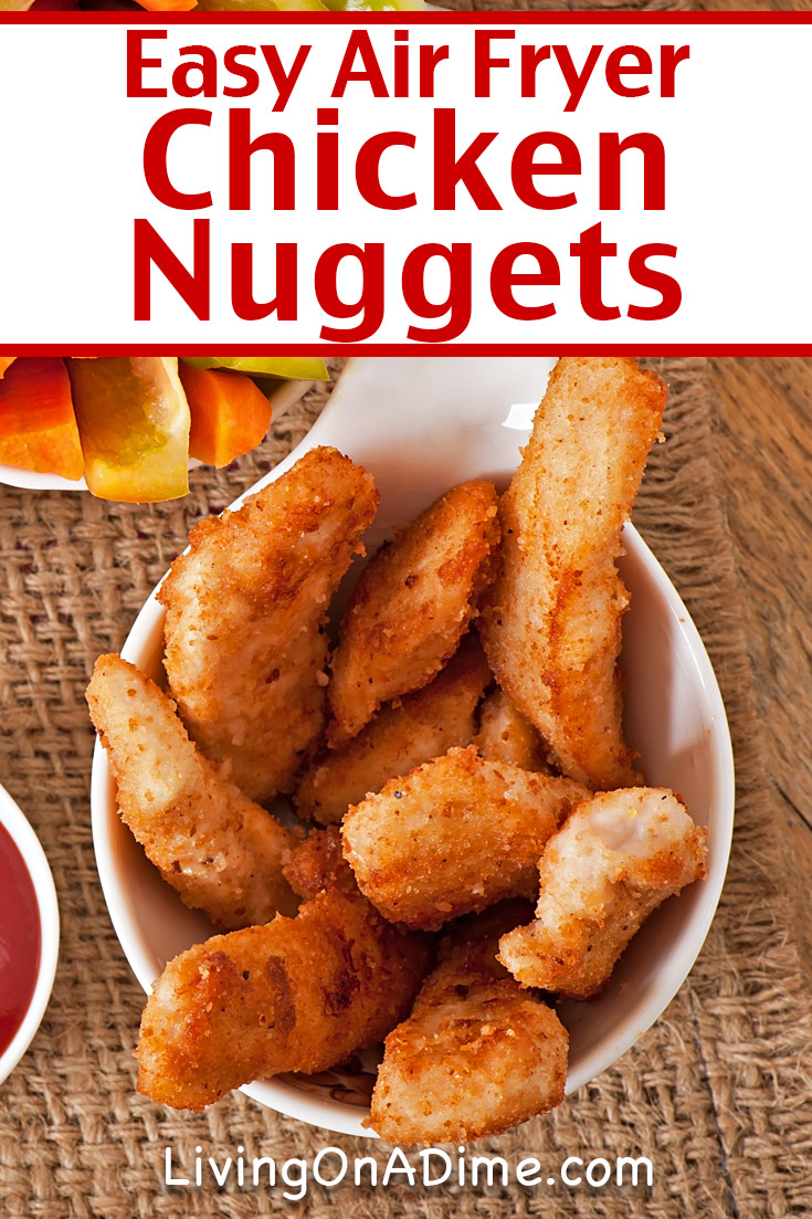 This air fryer chicken nuggets recipe is a favorite with kids! It makes delicious chicken nuggets, crunchy on the outside and juicy on the inside. What I especially love about this recipe is getting the yummy fried chicken taste without all the spitting and popping of frying them in oil. Another thing about air fryer chicken breast recipes like this one is how quickly you can prep and cook them when the kids are rioting! Try it the next time the kids are begging for fast food and save yourself the hassle of dragging them through the drive-thru!