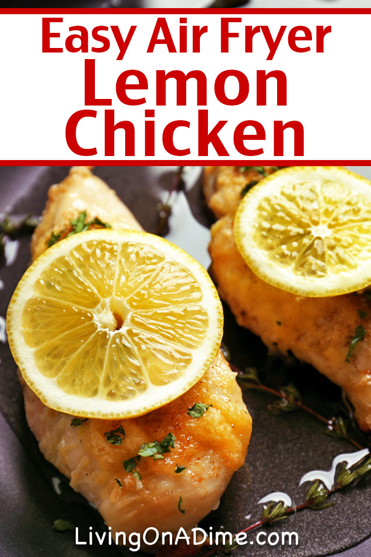 This easy air fryer lemon chicken recipe makes another juicy and tasty chicken main dish! With lemon and pepper, this savory chicken recipe is more bold than our other air fryer chicken breast recipes. This recipe is also great served with rice or pasta and the vegetable of your choice.