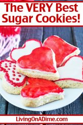 This sugar cookies recipe makes the very best Valentine's Day cookies! If your Valentine has a particular love for cookies, this easy Valentine's Day recipe is perfect! Cut into heart shapes, frost with your choice of red, white and pink frosting and be creative with your patterns! Get this and more Valentine's Day candy recipes and treats here!