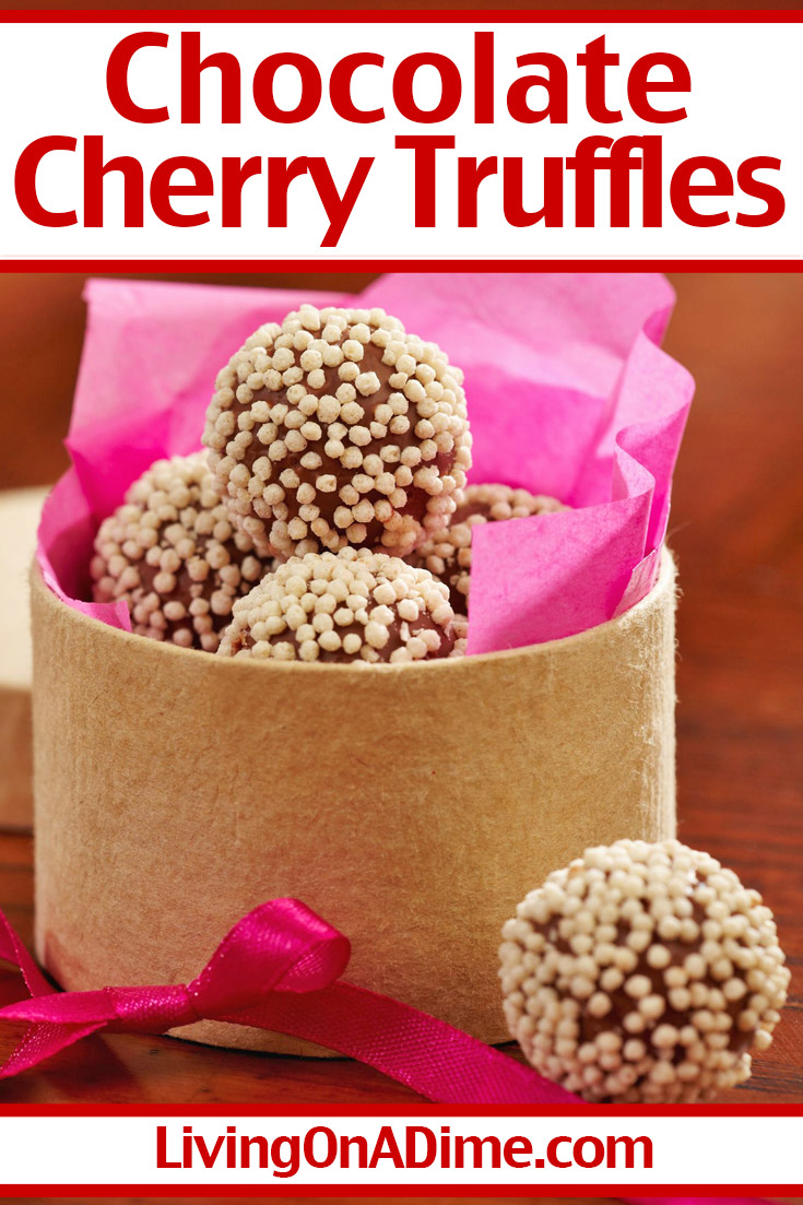 These chocolate cherry truffles are one of my husband's favorite Valentine's Day candy recipes! Starting with tasty chocolate and cherry flavors, you can modify this recipe to suit your own taste! You can roll the truffles in coconut, sprinkles, powdered sugar or dip in melted chocolate for a firmer outer shell! Get this and more Valentine's Day treats recipes here!