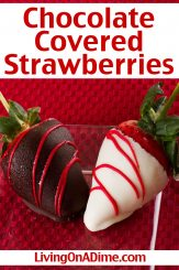 This chocolate covered strawberries recipe is one of those easy Valentine's Day candy recipes virtually everyone loves! This recipe makes a professional quality Valentine's treat just like the chocolate dipped strawberries at the expensive candy shops, but for a lot less!