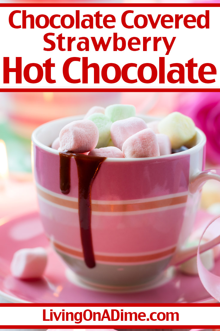 This chocolate covered strawberry hot chocolate is an easy but delicious variation on hot chocolate perfect for Valentine's Day! Top with colored marshmallows or the pink heart marshmallows for a sweet and warm Valentine's Day treat! Get this and more Valentine's Day candy recipes and treats here!