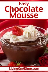 This easy chocolate mousse recipe makes a super yummy and creamy mousse dessert perfect for any chocolate lover! Light and fluffy, it's perfect served as-is, but if you like you can top with more whipped cream or swirl it together with the strawberry mousse recipe above! Get this and more Valentine's Day candy recipes and treats here!