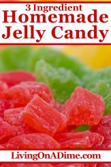 This easy 3 ingredient jelly candy recipe makes delightful sweet jelly candies that make a perfect addition to any selection of Christmas candy! My husband Mike loves Jelly candy and this Christmas Candy recipe is one of his favorites! Find this and lots more easy Christmas candy recipes with 3 ingredients or less here!