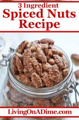 If you're looking for something a little different than the chocolate or fruit flavored Christmas candies, this easy spiced nuts recipe might be just the thing! Glazed with sugar and tasty Christmas spices, you will find them addicting! We like them best with walnuts, pecans and almonds! Find this and lots more easy Christmas candy recipes with 3 ingredients or less here!