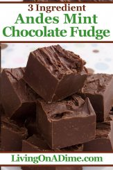 This 3 ingredient Andes mint fudge recipe is the perfect Christmas candy recipe! It includes tiny pieces of Andes mint candy, which makes a perfect fudge Christmas candy! If you love decadent chocolate fudge with a distinctly minty flavor, this Andes Mint Fudge is for you! Find this and lots more easy Christmas candy recipes with 3 ingredients or less here!