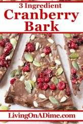 This easy 3 ingredient cranberry bark candy recipe includes a surprising combination of cranberries and pumpkin seeds for a unique and tasty Christmas flavor. Find this and lots more easy Christmas candy recipes with 3 ingredients or less here!