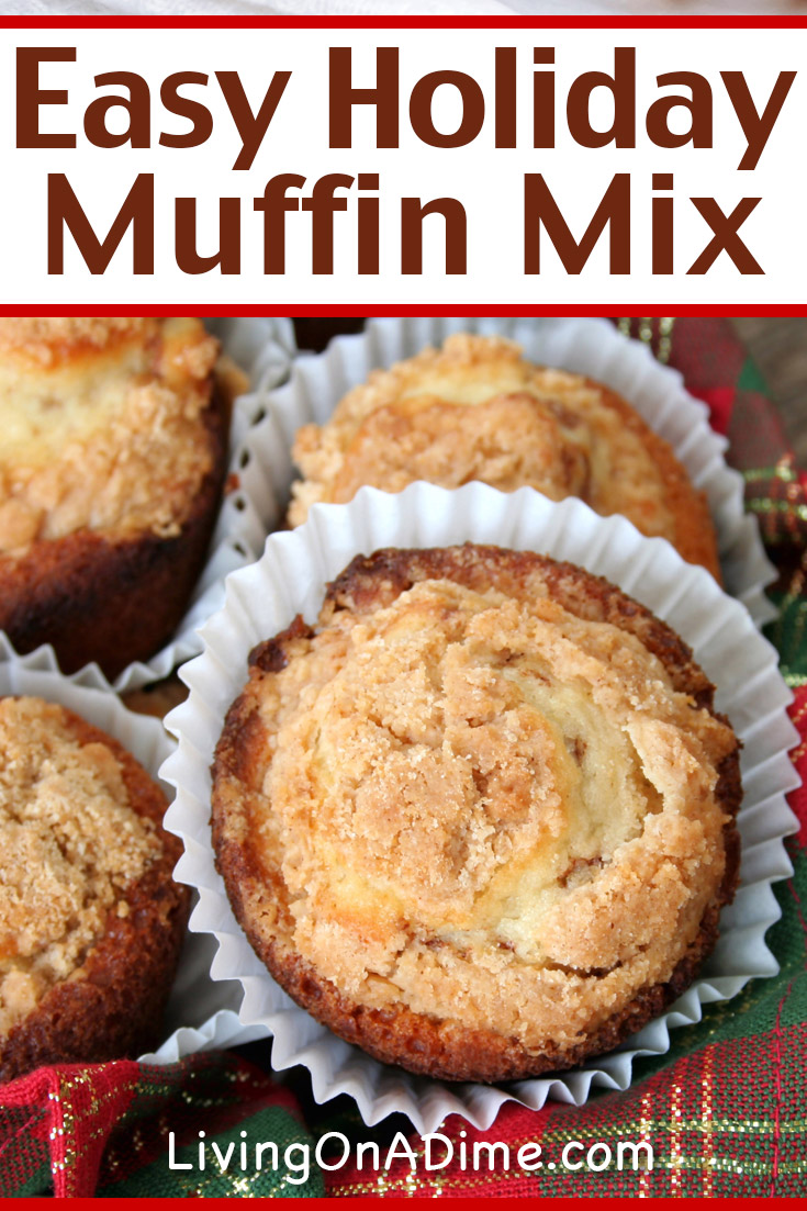 This easy holiday muffin mix recipe makes tasty muffins with all the flavor of Christmas! The nutmeg, cinnamon and cloves are perfect to bring the feeling of Christmas to any meal. This recipe makes a great homemade gift or jarmix!