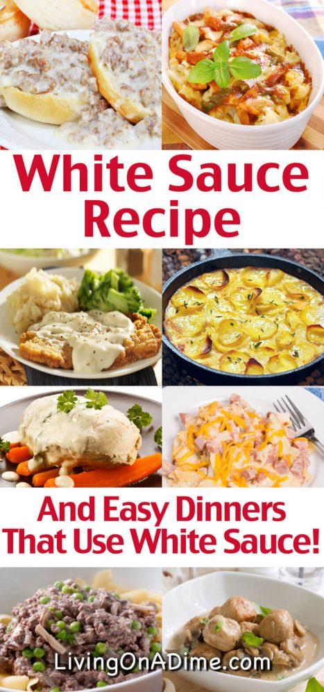 This homemade white sauce recipe is super easy to make and is useful for enhancing all kinds of meals. This white sauce is easily adaptable for various recipes and we have included easy dinner recipes and tips for great ways to use the white sauce! Read on to find some easy meal ideas you can make with it!